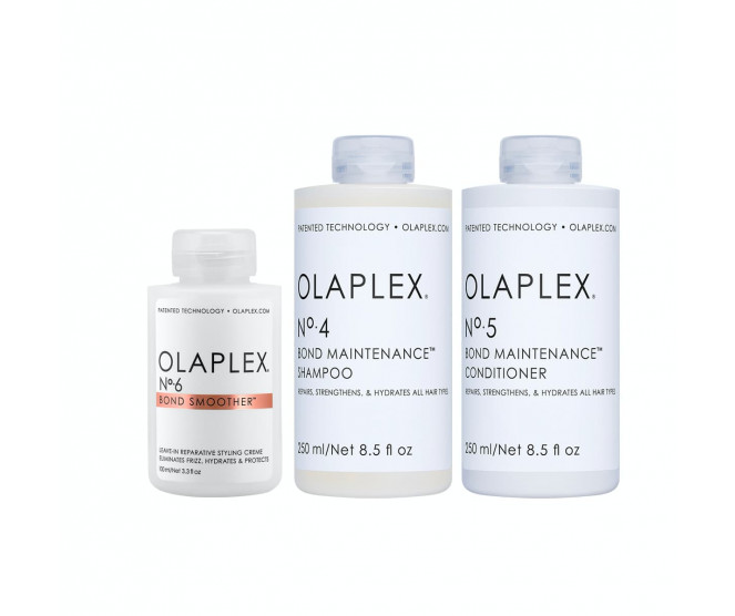 Olaplex No. 4 Shampoo 250 ml + No. 5 Conditioner 250 ml + No. 6 Bond Smoother 100 ml