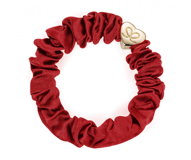 By Eloise London Gold Heart Silk Scrunchie Burgundy Red