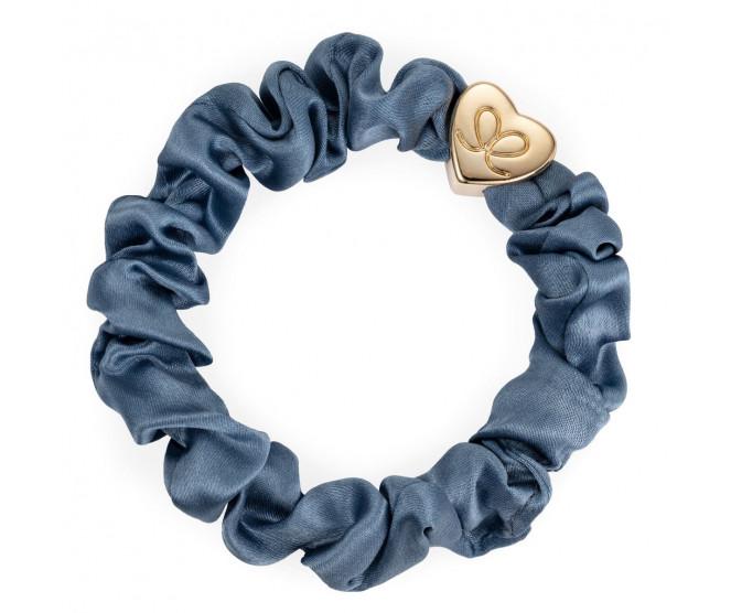 By Eloise London Gold Heart Silk Scrunchie Faded Denim
