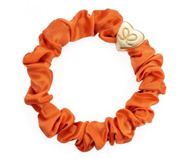 By Eloise London Gold Heart Silk Scrunchie Orange Peel