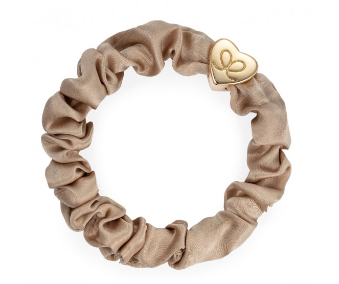 By Eloise London Gold Heart Silk Scrunchie Sand