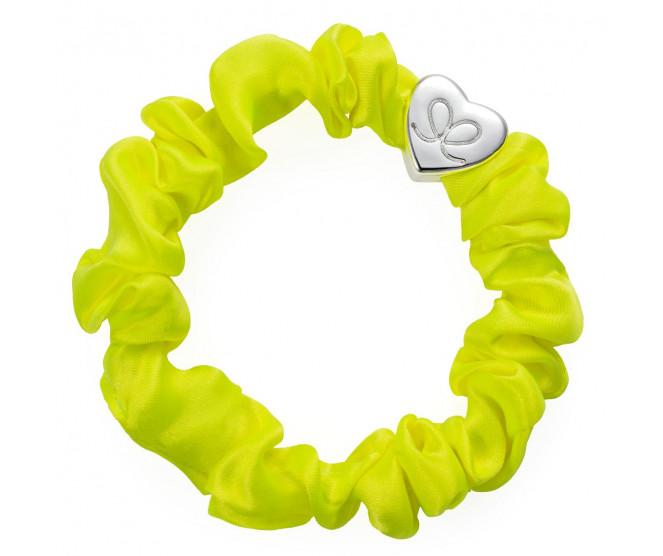 By Eloise London Silver Heart Silk Scrunchie Lemon Yellow