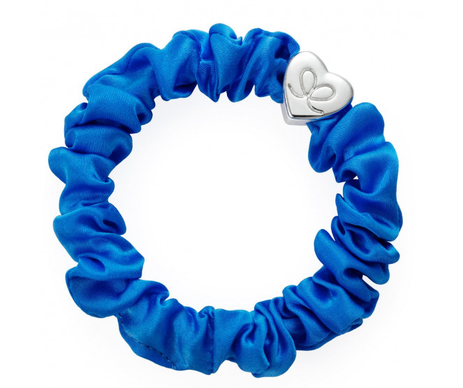By Eloise London Silver Heart Silk Scrunchie Royal Blue