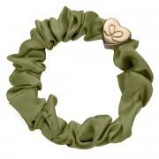 By Eloise London Gold Heart Silk Scrunchie Olive Green