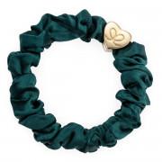 By Eloise London Gold Heart Silk Scrunchie Chive Green